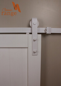 Classic Hanger Barn Door Hardware Set in White