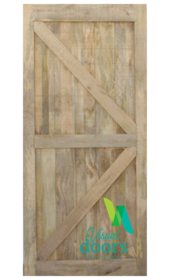 Unfinished Artisan Cabin Solid Timber Barn Door - British Brace