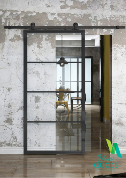Industrial Chic Door 4 Panel Glass/Steel Door