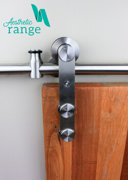 Modern Front Mount Hanger Stainless Sliding Door Set