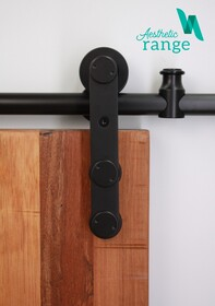 Modern Front Mount Hanger Black Door Set
