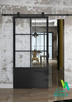 Industrial Chic Door 6 Panel Glass/Steel Door