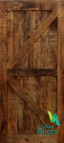 Artisan Cabin Solid Timber Barn Door - British Brace - Russet Stain
